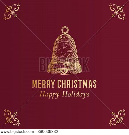 Merry Christmas Abstract Vector Classy Label, Logo Or Card Template. Hand Drawn Golden Bell Sketch I