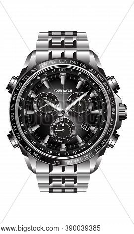Realistic Silver Black Steel Clock Watch Chronograph On White Background Design Luxury For Men Vecto