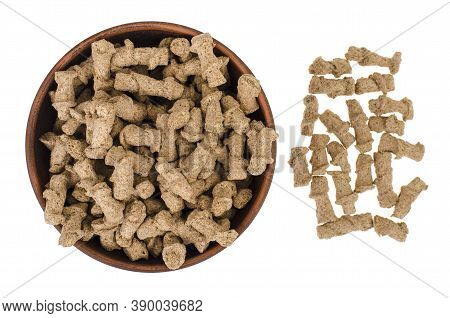 Healthy Food Products. Extruded Rye Bran On White Background