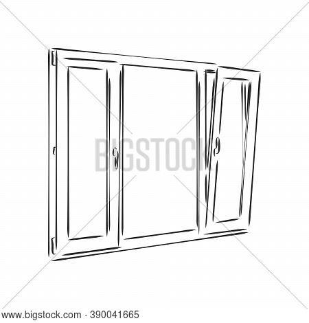 Modern Double Pvc Sash On Light Inside Wall Backdrop. Window , Vector Sketch Illustration