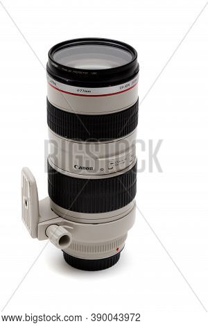 London, United Kingdom, 21st September 2020:- A Canon 70-200mm F2.8 Usm L Lens Isolated On A White B