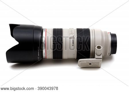 London, United Kingdom, 21st September 2020:- A Canon 70-200mm F2.8 Usm L Lens With Lens Hood Isolat
