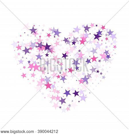 Flying Stars Confetti Holiday Vector In Pink Violet Purple On White. Cosmic Sparkles Stylish Design.