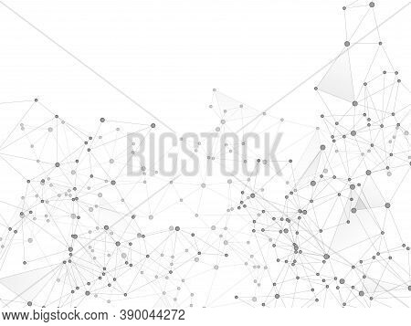 Social Media Communication Digital Concept. Network Nodes Greyscale Plexus Background. Wireframe Min