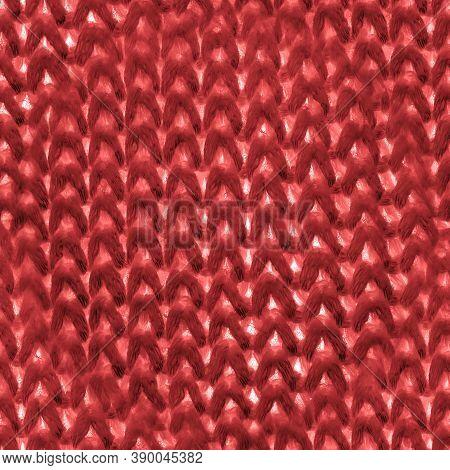 Orange Nordic Knitting. Christmas Scandinavian Texture. Vintage Wool Embroidery. Seamless Jacquard W