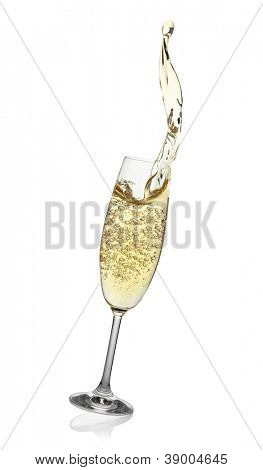 Flute with abstract splash of champagne, isolated on the white background, clipping path included.