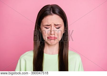 Closeup Photo Of Depressed Lady Straight Long Hairdo Disappointed Stay Home Alone Crying Loneliness