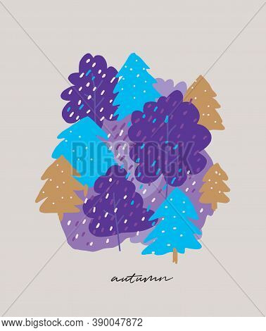Cute Abstract Autumn Forest Vector Illustration.  Infantile Style Hand Drawn  Violet And Gold Trees
