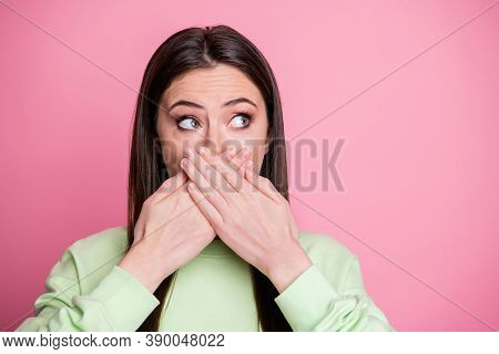 Closeup Photo Of Pretty Terrified Lady Hiding Mouth Arms On Lips Say Wrong Phrase Mistake Look Side