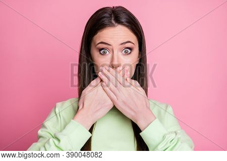 Closeup Photo Of Pretty Shocked Lady Straight Long Hairdo Hiding Mouth Arms On Lips Say Wrong Phrase