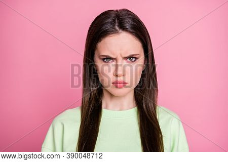Closeup Photo Of Attractive Offended Lady Straight Long Hairdo Look Moody Facial Expression Annoyed