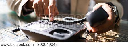 Landline Telephone Call In Office. Corporate Phone