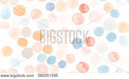 Seamless Circle Texture. White Watercolour Radial Ornament. Cute Watercolour Blots. Baby Round Paint