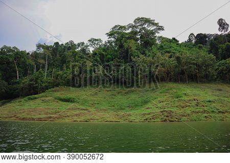Natural Landscape View Of Waterfall In Khun Dan Prakarnchon Dam At Nakhon Nayok, Thailand