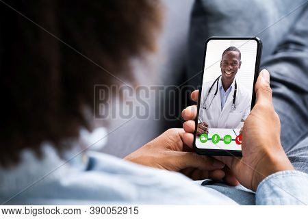 African American Video Conferencing With Doctor. Online Telemedicine