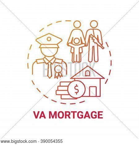 Va Mortgage Concept Icon. Veterans Affairs Type Idea Thin Line Illustration. Direct Home Loan. Veter