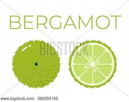 Vector Of Bergamot And Sliced Half Of Bergamot On White Background