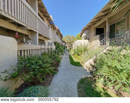 Private Community Compound With Townhouses Condo In Carlsbad, San Diego, South California, Usa. Octo