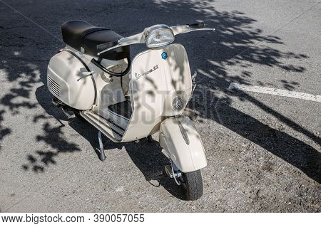 Galicia, Spain - October 15, 2020: Old Vespa Gt 125 Motorbike Of The 60s Parked On The Street.