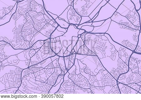 Detailed Map Of Sheffield City Administrative Area. Royalty Free Vector Illustration. Cityscape Pano