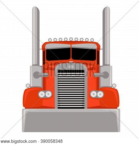 Red Semi Truck,vector Illustration, Flat Style, Front View
