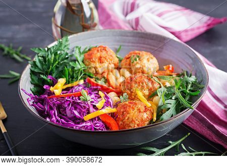 Italian Pasta. Cavatappi With Meatballs And Salad On Dark Background. Dinner. Slow Food Concept