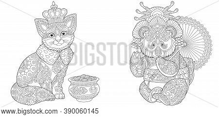 Coloring Page. King Cat And Panda Geisha. Line Art Drawing For Adult Or Kids Coloring Book In Zentan