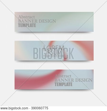Abstract Background Horizontal Banners With Colored Waves And Paper Cut Backgrounds. Vector Design L
