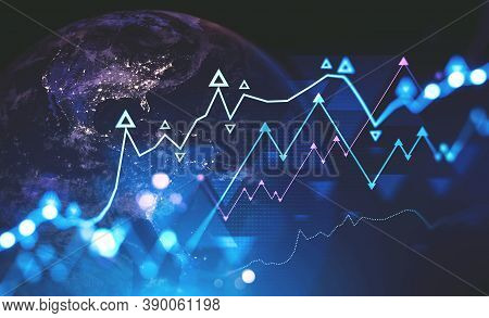 Planet Earth And Futuristic Financial Graphs Interface. Concept Of Stock Market. 3d Rendering Toned