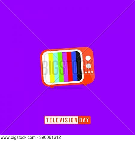 Television Day With Cartoon Of Vintage Television Vector Illustration. Good Template For Television