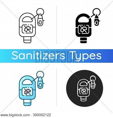 Keyring Sanitizer Icon. Keychain Holder For Tube With Liquid Soap. Pocket Wash For Hand Sanitation.