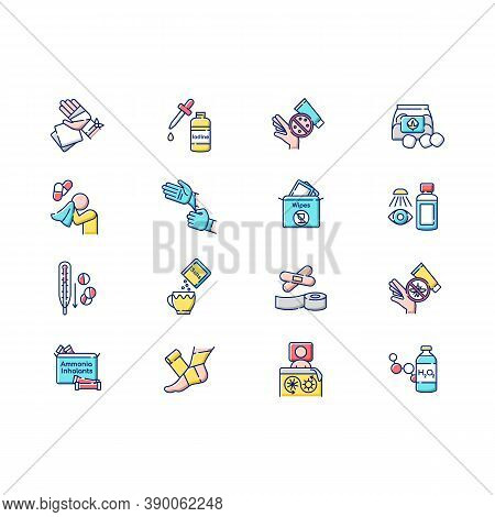 First Aid Kit Rgb Color Icons Set. Elastic Bandages For Injury Treatment. Fever Medication. Antihist