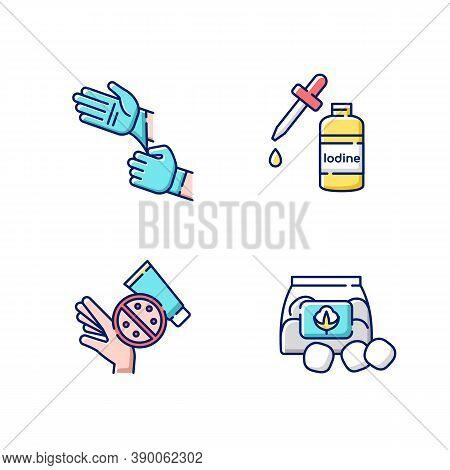 Medical Equipment Rgb Color Icons Set. Disposable Sterile Gloves. Iodine In Bottle. Skin Rash Cream.