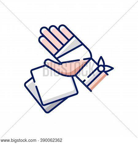 Gauze Bandages And Pads Rgb Color Icon. Adhesive Wrap For Hand Injury. Joint Trauma. First Aid Kit.