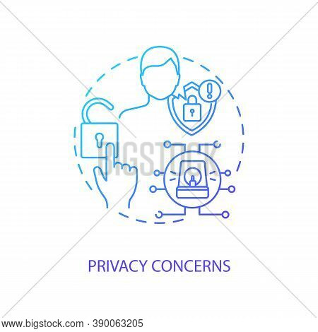 Privacy Concerns Concept Icon. Telemedicine Challenges. Patient Confidential Data. Futuristic Health