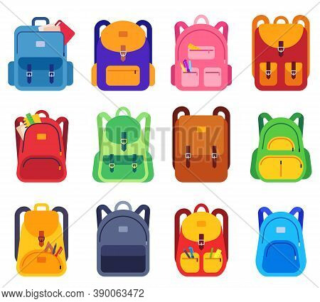 School Bags. Backpacks With Zipper And Pockets For Study And Traveling, Luggage Objects. Back To Sch
