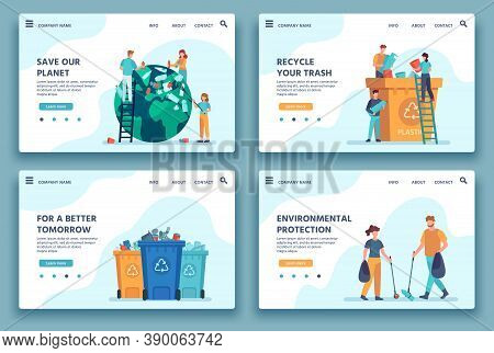 Recycling Trash Landing Page. People Collecting And Sorting Garbage For Recycle. Eco Lifestyle. Redu