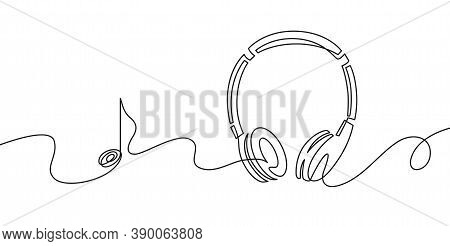 One Line Headphones. Continuous Drawing Of Music Gadget And Note. Audio Headphone Outline Sketch. Li