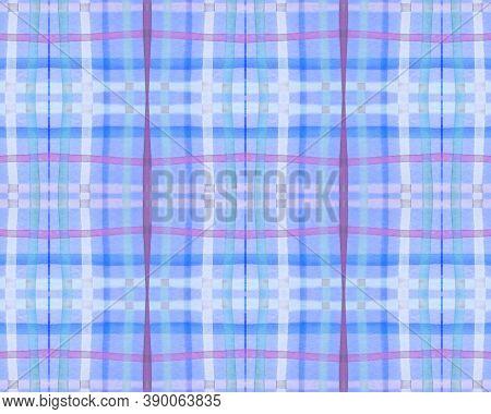 Bright Check Print. Watercolor Tartan Blanket. Retro Geometric Squares For Cloth Print. Seamless Vio