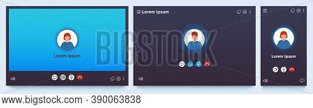 Video Call Interface. Web Chat Ui Screen Mockup. Application For Calls And Online Conference Meeting
