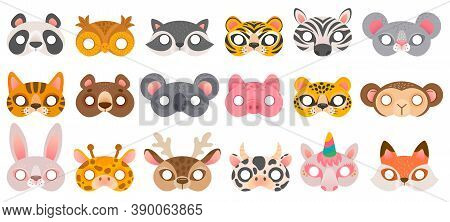 Animal Mask. Photo Booth Props, Panda Bear And Zebra, Tiger And Pig, Koala And Cow, Unicorn And Monk