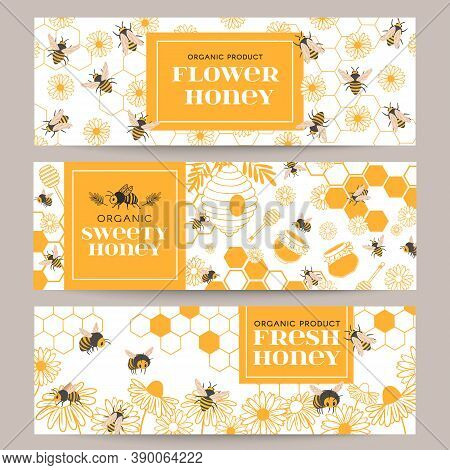 Honey Banners. Business Promote Flyer With Various Beekeeping Products, Honeycomb And Honey In Jars,