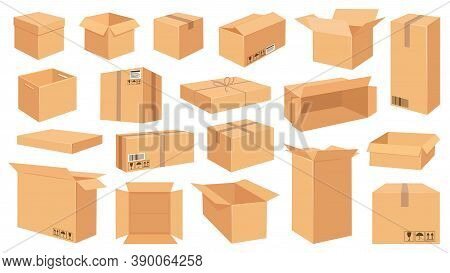 Cardboard Boxes. Cartoon Brown Carton Package. Open And Closed Delivery Rectangle Box With Fragile S