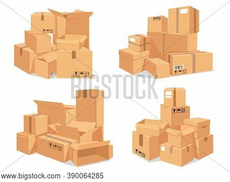 Carton Box Stack. Big Pile Of Delivery Brown Cardboard Boxes. Cartoon Stacked Warehouse Parcels. Pac
