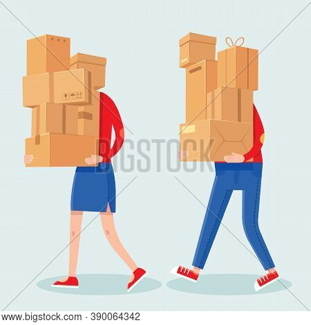 People Carrying Boxes Stack. Cartoon Man And Woman With Heavy Carton Box Pile. Family Couple Carry P