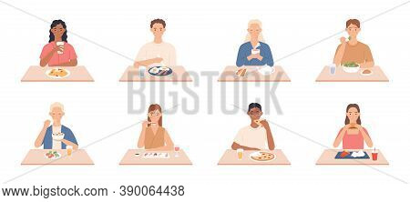 People Eat. Men And Women Eating Delicious Meals, Friends Sit At Table In Restaurant, Cafe And Eat D