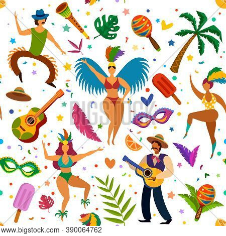 Brazilian Carnival Seamless Pattern. Dancers And Maracas, Palm Tree, Masks And Feathers, Latino Danc