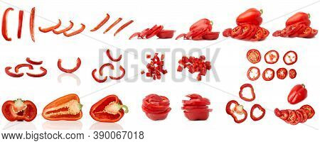 Chopped red Bell Pepper Isolated On A White Background. Set Of Different Photos In One Lot.