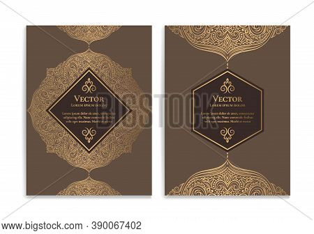 Brown And Gold Luxury Invitation Card Design With Vector Mandala. Vintage Ornament Template. Can Be