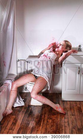 Bloody Crime Scene in a Bathroom